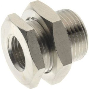 Bulkhead fitting, nickel-plated brass