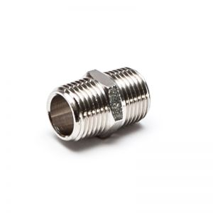 Nipple, conical thread, brass nickel-plated