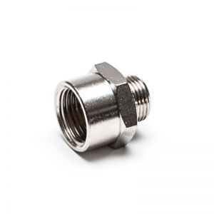 Reduction nipple, threaded cylindrical, nickel-plated brass