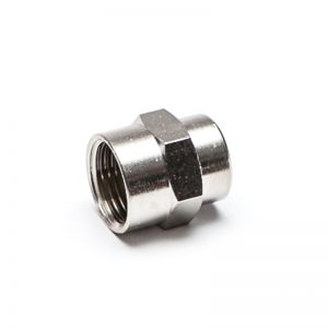 Reducing sleeve, threaded cylindrical, nickel-plated brass
