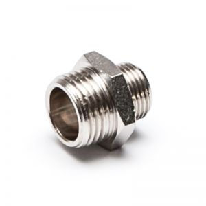 Reducing nipple, threaded cylindrical, nickel-plated brass