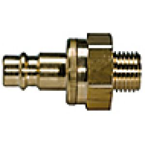 NW 7.2 connector with non-return valve, external thread, brass