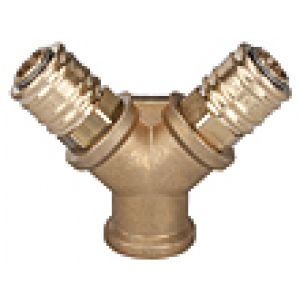 Manifold with two quick release, female thread, brass