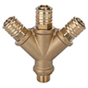 Distributor with three quick connectors, external thread, brass
