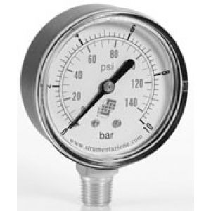 Standard pressure gauge, dual scale, bottom connector, accuracy class 2.5