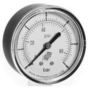 Standard vacuum gauge with dual scale, rear connection, accuracy class 2.5