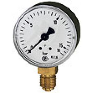 Metal manometer with single scale, connection bottom