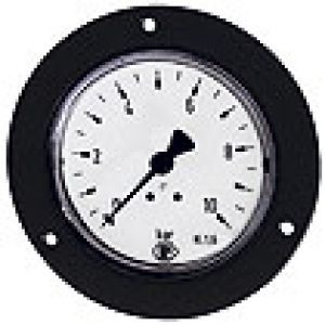 Pressure gauge with a black collar, rear connection