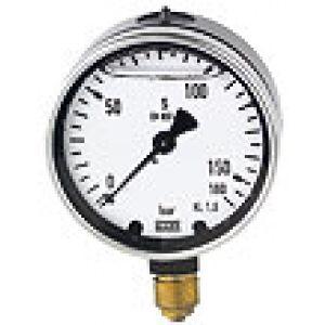 Glycerine pressure gauge, metal, connection bottom