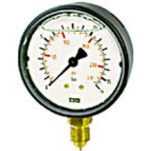 Vacuum gauge glycerin, plastic, dual scale, connection bottom