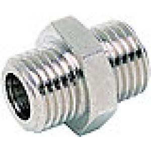 Nipple, threaded cylindrical, nickel-plated brass