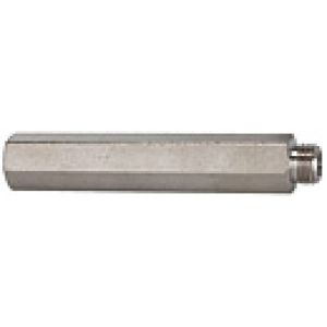 Extension hex, threaded cylindrical, nickel-plated brass, long